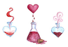 Watercolor illustration love potions, red liquid in flasks Stock Photos