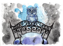 Watercolor illustration of magical owl Royalty Free Stock Photos