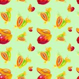 Watercolor illustration of mango and papaya in juice splash isolated on a green background. Seamless pattern stock illustration