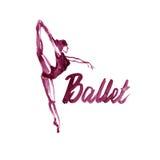 Watercolor illustration maroon ballerina icon in dance. Design poster ballet school, studio Stock Photography
