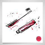 Watercolor illustration of mascara. Fashion illustration. Vector Royalty Free Stock Photography