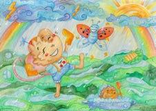 Watercolor illustration `May`: dancing in the rain