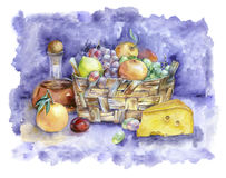 Watercolor illustration with mediterranean food. Watercolor painting. Italian still life with a basket of fruit and cheese Royalty Free Stock Photography