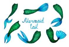 Watercolor illustration of mermaid hosts hand drawn royalty free stock photo