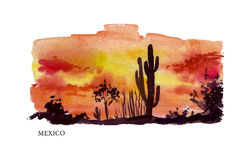 Watercolor illustration of Mexico Stock Images