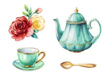 Free Watercolor Illustration, Mint Green Teapot And Cup, Gold Spoon, Red And Yellow Roses, Clip Art Elements Set Isolated On White Royalty Free Stock Photos - 156249718