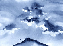 Watercolor illustration of mountains, clouds and bird Stock Photography