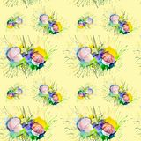 Watercolor illustration of mushrooms on moss in the forest .Isolated on yellow background.Seamless pattern vector illustration