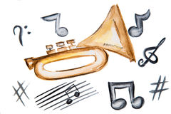 Watercolor illustration musical instrument pipe musical notes Royalty Free Stock Photos