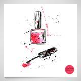 Watercolor illustration of nail polish. Fashion illustration. Vector Royalty Free Illustration