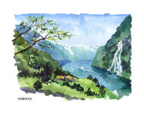 Watercolor illustration of Norway. Vector watercolor illustration of Norway sightseeings and lake coast with text place. Good for warm memory postcard design Royalty Free Stock Photography