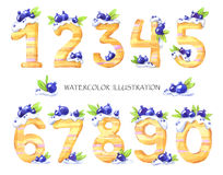 Watercolor illustration of numbers from zero to nine. Sweet tasty mathematical symbols. Set of decorative cake with Stock Image