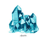 Watercolor Illustration Of Diamond Crystals. Blue Apatite. Stock Photo