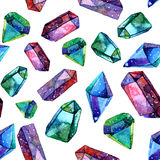 Watercolor Illustration Of Diamond Crystals - Seamless Pattern Royalty Free Stock Photography