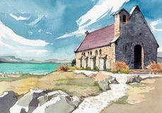 Free Watercolor Illustration Of English Cottage Royalty Free Stock Photo - 138183865