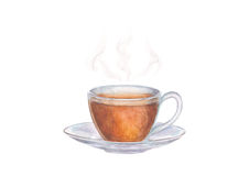 Free Watercolor Illustration Of Glass Cup Of Tea With Steam  Stock Photography - 91993752