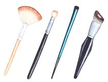 Free Watercolor Illustration Of Make Up Tools. Hand Painted Beauty Brushes For Eyeshadow, Foundation And Higlighter. Stock Photo - 190292190