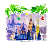 Watercolor illustration of old Prague city view with ancient buildings Stock Photos