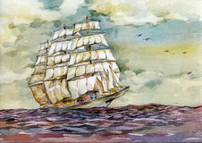 Old ship in the sea on the sunset watercolor illustration. Watercolor illustration the old sailing ship on the sea horizon on the sunset stock illustration