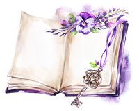 Watercolor illustration. Opened old book with a ribbon, pansy, leaves and key. Antique objects. Spring collection in. Violet shades. ClipArt, DIY, scrapbooking Stock Image