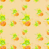 Watercolor illustration of orange and lime in juice splash isolated on peach color background. Seamless pattern vector illustration