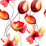 Watercolor illustration with original red flowers Royalty Free Stock Image