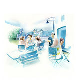 Watercolor illustration of an outdoor New Zealand Cafe Stock Photo