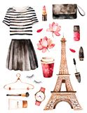 Watercolor illustration Paris style. royalty free illustration