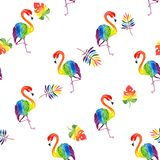 Watercolor illustration pattern of a beautiful tropical exotic rainbow flamingo with tropical rainbow-colored leaves stock photos