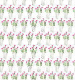 Watercolor illustration with pattern of flowers and leaves seaml Royalty Free Stock Image