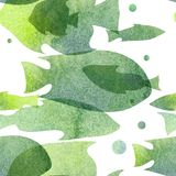 Watercolor illustration. Pattern of transparent silhouettes of fish warm green shades.  Stock Photo