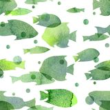 Watercolor illustration. Pattern of transparent silhouettes of fish warm green shades.  Royalty Free Stock Image