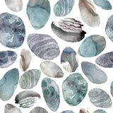 Watercolor illustration. Pattern of transparent stones of gentle gray and blue shades. Stock Images