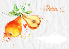 Watercolor illustration. Pear crumpled paper Royalty Free Stock Images