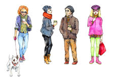 Watercolor Illustration People from the Street. Hand painted watercolor illustration of People from the Street Stock Photo
