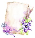 Watercolor illustration. A pile of old papers with a ribbon, pansy, leaves and key. Antique objects. Spring collection. In violet shades. ClipArt, DIY Royalty Free Stock Photos