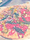 Watercolor illustration of pizza in a box Royalty Free Stock Image