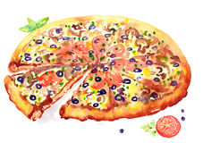 Watercolor Illustration Pizza. Hand painted watercolor illustration of food Royalty Free Stock Images