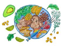 Watercolor illustration of a plate of food royalty free illustration