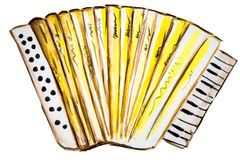 Watercolor illustration of playing the accordion Stock Photo