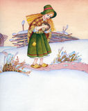 Watercolor illustration. Poor girl  is on the winter trail Royalty Free Stock Image