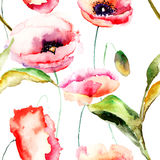 Watercolor illustration of Poppy flowers Royalty Free Stock Image