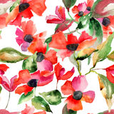 Watercolor illustration with Poppy flowers. Seamless pattern Stock Images