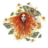 Watercolor illustration of a print of a red-haired girl with developing hair in the wind with green eyes, expressive facial featur. Es, around her a lot of green Stock Images