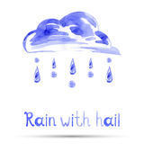 Watercolor illustration of rain and hail. Vector Royalty Free Stock Photos