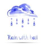 Watercolor illustration of rain and hail. Vector Stock Illustration