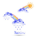 Watercolor illustration of a rainbow, sun and rain. Vector Stock Image