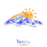 Watercolor illustration of a rainbow. Vector Royalty Free Stock Photography