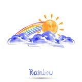 Watercolor illustration of a rainbow. Vector Vector Illustration