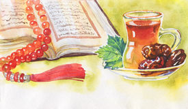 Watercolor illustration of ramadan kareem and ramadan mubarak. Hand drawn muslim background of koran, dates and tea. Watercolor illustration of ramadan kareem
